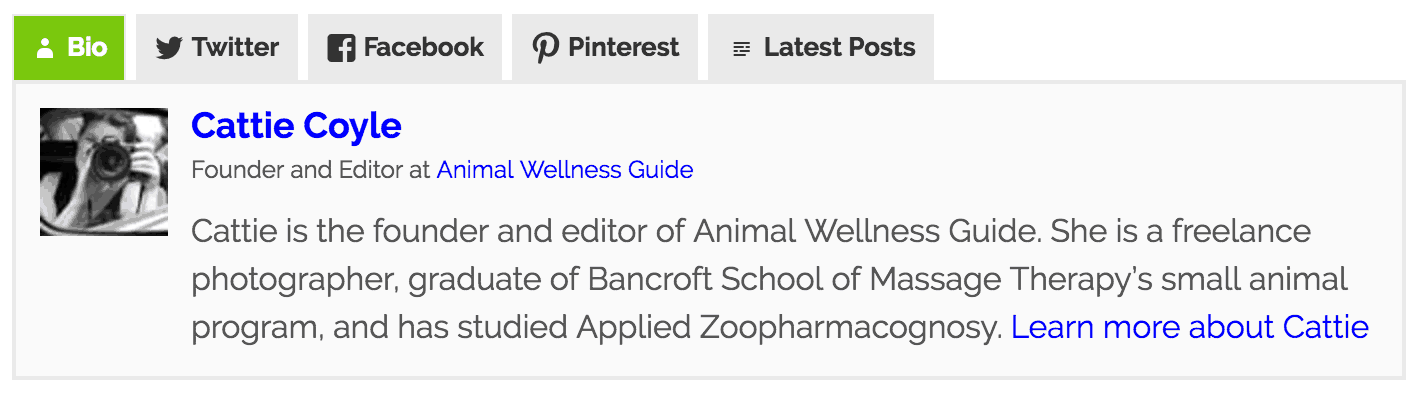Fanciest Author Box WordPress Plugin on Animal Wellness Guide