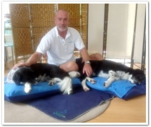 Animal massage therapist Dr Les Sam and Sarah
